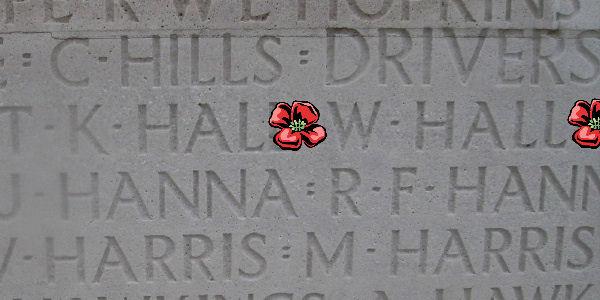 Memorial– Inscription - Vimy Memorial … Private William Hall is also commemorated on the Vimy Memorial, Pas de Calais, France ... photo courtesy of Marg Liessens