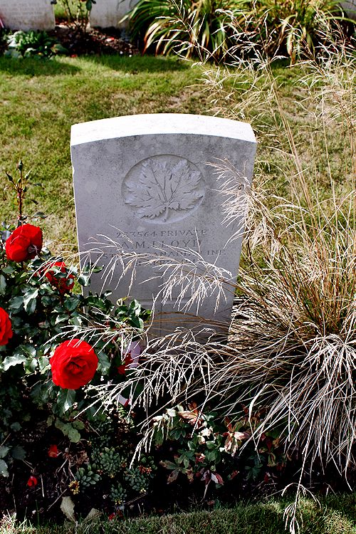 Grave Marker– The grave marker at the Canadian Cemetery No. 2 is located by the grounds of Canada's Vimy Memorial. The cemetery is about 6 kilometres north of Arras, France. May he rest in peace. (John & Anne Stephens 2013)