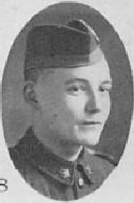 "Photo of Reginald Nicolle– Photo taken from ""A Short History and Photographic Record of the 73rd Battalion, Canadian Expeditionary Force, Royal Highlanders of Canada"" Page 33.  'C' Company.  No. 11 Platoon."