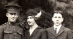 Group photo– He is standing beside his beloved sister Ethel, and friend Jack Abrams, all of Texada Isalnd, BC.