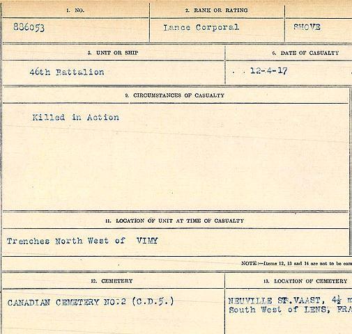 Circumstances of death registers– Lance Corporal Louis Shove