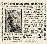 Newspaper Clipping– This newspaper article reporting on the Sime brothers includes a different date of death than the official record.  No explanation is available, however, newspaper reports often included errors.  His brother, Lt. Adam Watson Sime, 56857, enlisted in Toronto on April 21st, 1915.