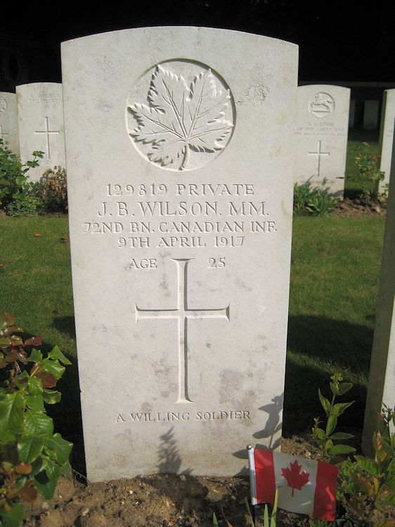 Grave Marker– The grave marker at the Canadian Cemetery No. 2 is located on the grounds of Canada's Vimy Memorial. The cemetery is about 6 kilometres north of Arras, France. May he rest in peace. (John & Anne Stephens 2013)
