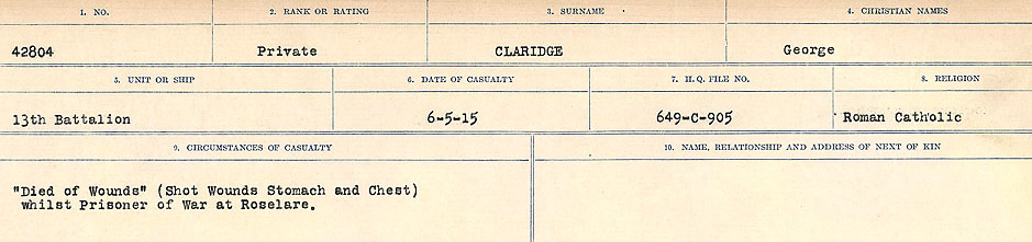 Circumstances of Death Registers– Source: Library and Archives Canada.  CIRCUMSTANCES OF DEATH REGISTERS, FIRST WORLD WAR Surnames:  CHILD TO CLAYTON.  Microform Sequence 20; Volume Number 31829_B016729. Reference RG150, 1992-93/314, 164.  Page of 439 of 1068.