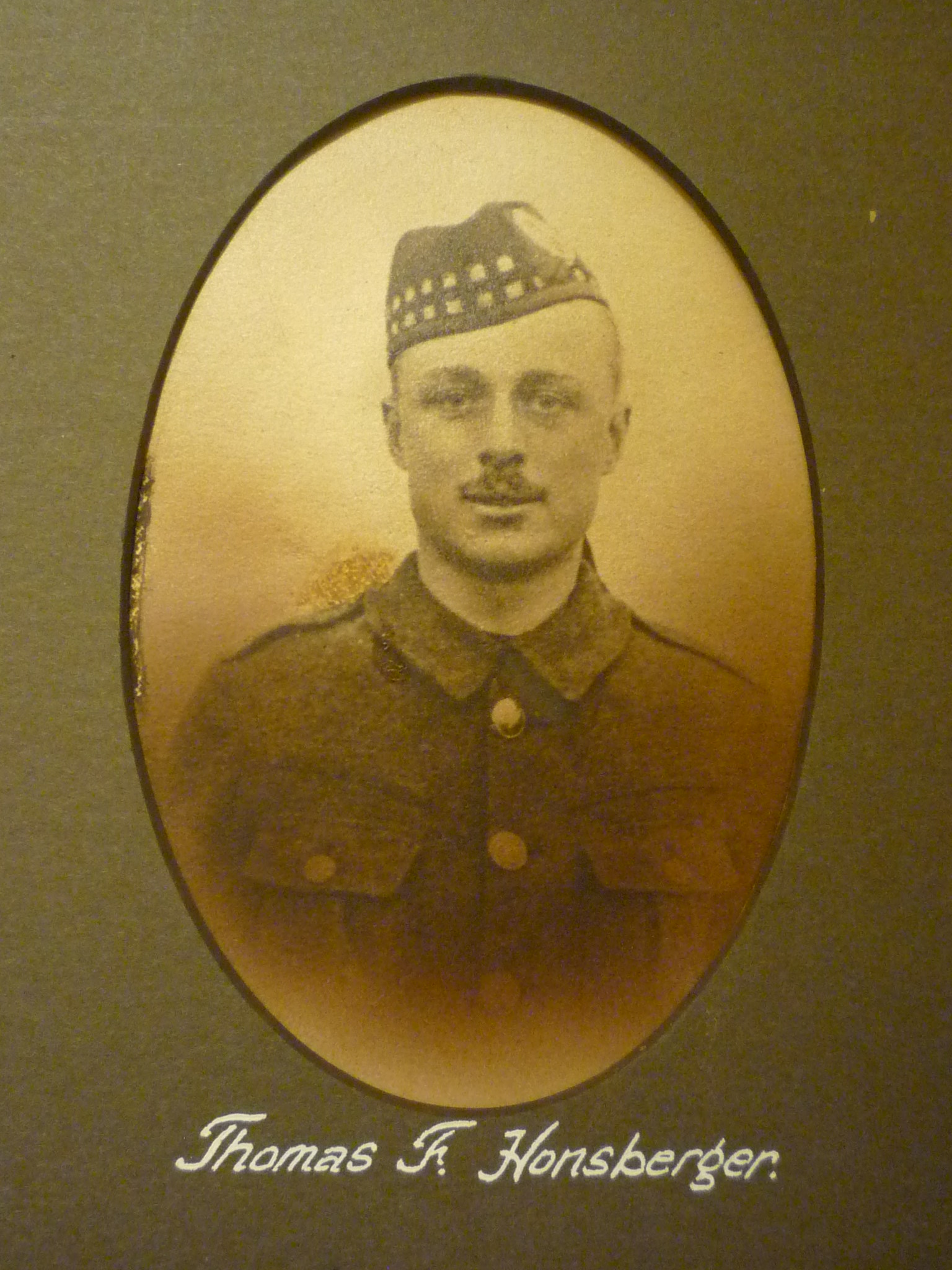 Photo of THOMAS HONSBERGER– This image comes from a large framed tribute in St. John's Presbyterian Church, Broadview Avenue, Toronto. Ontario Canada.  He and thirty-two other men are remembered here for their service in WWI.
