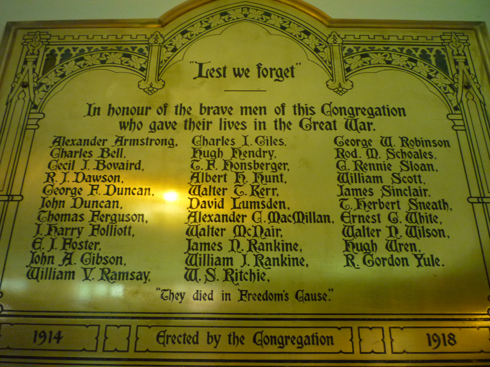 Memorial Plaque– Commemorative Plaque erected in the sanctuary of St. John's Presbyterian Church, Broadview Avenue, Toronto, Ontario, Canada.  Donor is Captain (Retired) Brian W. MacInnes, Director of Music, The 48th Highlanders of Canada, Military Band.