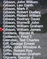 Memorial– Pilot Officer William James Cameron Gibson is also commemorated on the Bomber Command Memorial Wall in Nanton, AB … photo courtesy of Marg Liessens