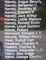 Memorial– Pilot Officer Leslie Wallace Harvey is also commemorated on the Bomber Command Memorial Wall in Nanton, AB … photo courtesy of Marg Liessens