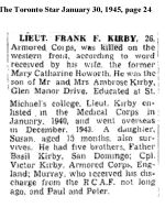 Newspaper clipping– Toronto Star 1945