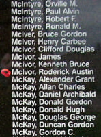 Memorial– Pilot Officer Roderick Austin McIvor is also commemorated on the Bomber Command Memorial Wall in Nanton, AB … photo courtesy of Marg Liessens
