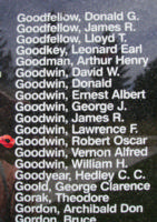 Memorial– Flying Officer Robert Oscar Evans Goodwin is also commemorated on the Bomber Command Memorial Wall in Nanton, AB … photo courtesy of Marg Liessens