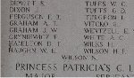 Inscription on Menin Gate (Ypres) Memorial– Company Sergeant Major Dames was commemorated among the missing on the Menin Gate Memorial.  He is buried at Hagle Dump Cemetery, in Belgium.