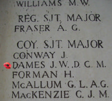 Memorial– Inscription on the Menin Gate … Company Sergeant Major James William Dames is also commemorated on the Menin Gate, Belgium ... photo courtesy of Marg Liessens