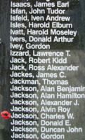 Memorial– Flying Officer Charles Warner Jackson is also commemorated on the Bomber Command Memorial Wall in Nanton, AB … photo courtesy of Marg Liessens