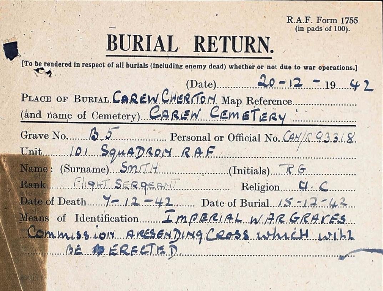 Burial card