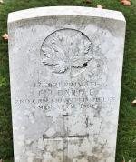 Grave Marker– The grave marker at the Thelus Military Cemetery located at the foot of Vimy Ridge, just outside of Thelus, France. May he rest in peace. (J. Stephens)