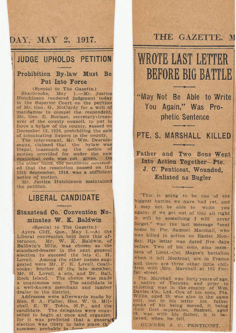 Newspaper Clipping– Montreal Gazette notice of passing May 2 1917 paper
