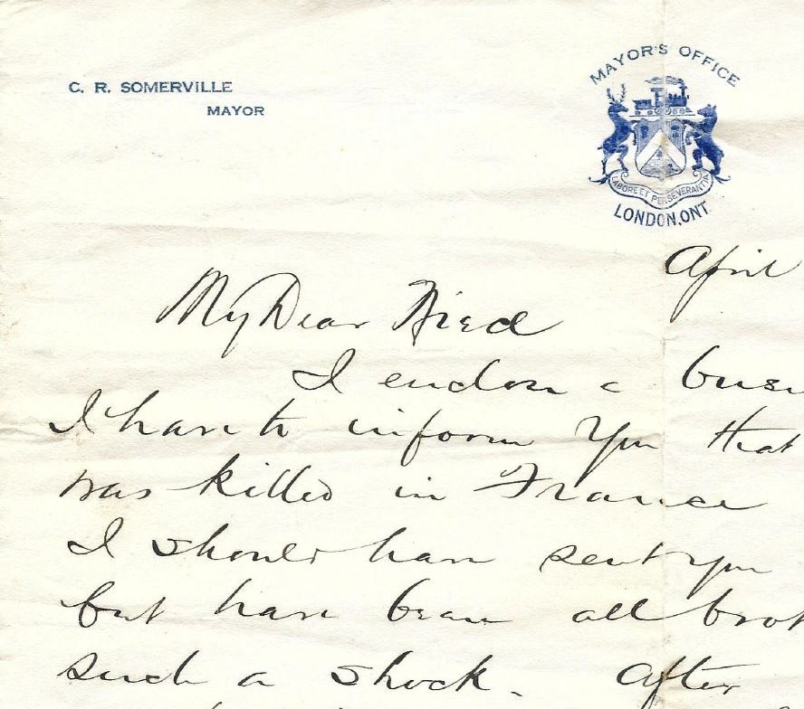 Letter– Letter to Mabel Somerville from her uncle C.R. Somerville, deceased's father, regarding the death of his son.
