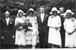 Photo of Harry's Brother's Wedding– Harry's brother Sam's wedding to Amy Beavis in Crystal City, Manitoba 7 August 1928. Left to right: Sam Beavis (Amy's brother), Charlotte Todd, Amy, Sam, Marjory Greenway, Reverend Joseph Hunter and Hilda Hosegood