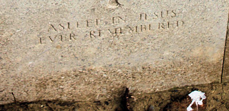 Inscription– Inscription: Asleep in Jesus - Ever Remembered  (John & Anne Stephens 2013)
