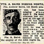 Newspaper Clipping– Pte. Andrew Baird originally enlisted with 134th Battalion (48th Highlanders) on January 22nd, 1916 in Toronto.