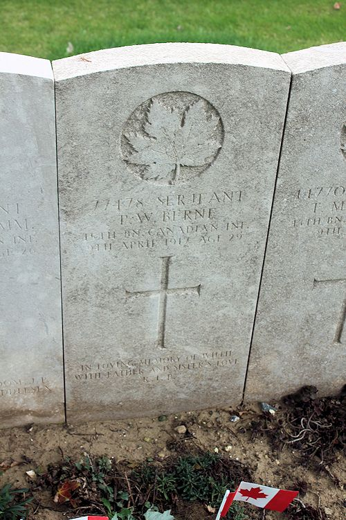 Grave Marker– The grave marker at the Nine Elms Cemetery located outside Roclincourt, France. It is located about 5 kilometres from Canada's Vimy Memorial. May he rest in peace. (John & Anne Stephens 2013)