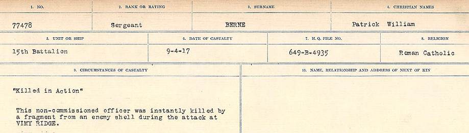 Circumstances of Death Registers– Source: Library and Archives Canada.  CIRCUMSTANCES OF DEATH REGISTERS FIRST WORLD WAR Surnames: Bernard to Binyon. Mircoform Sequence 9; Volume Number 31829_B016719; Reference RG150, 1992-93/314, 153 Page 31 of 652