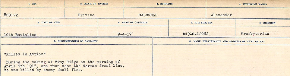 Circumstances of Death Registers– Source: Library and Archives Canada.  CIRCUMSTANCES OF DEATH REGISTERS, FIRST WORLD WAR Surnames:  Cabana to Campling. Microform Sequence 17; Volume Number 31829_B016726. Reference RG150, 1992-93/314, 161.  Page 185 of 1024.