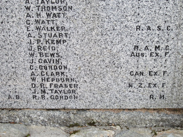 Inscription– Inscription showning Andrew Clark's name on the War Memorial in Torphins, Aberdeenshire, Scotland. Image taken 30 March 2015 by Tom Tulloch.