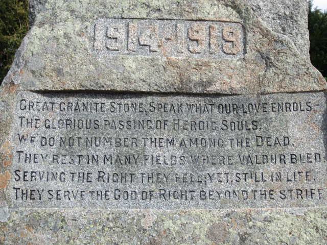 Inscription– Inscription on the War Memorial in Torphins, Aberdeenshire, Scotland. Image taken 30 March 2015 by Tom Tulloch.