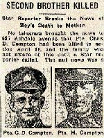 Newspaper Clipping– Pte. Harold Compton is mentioned in this article about the death of his brother at Vimy Ridge on April 9, 1917.