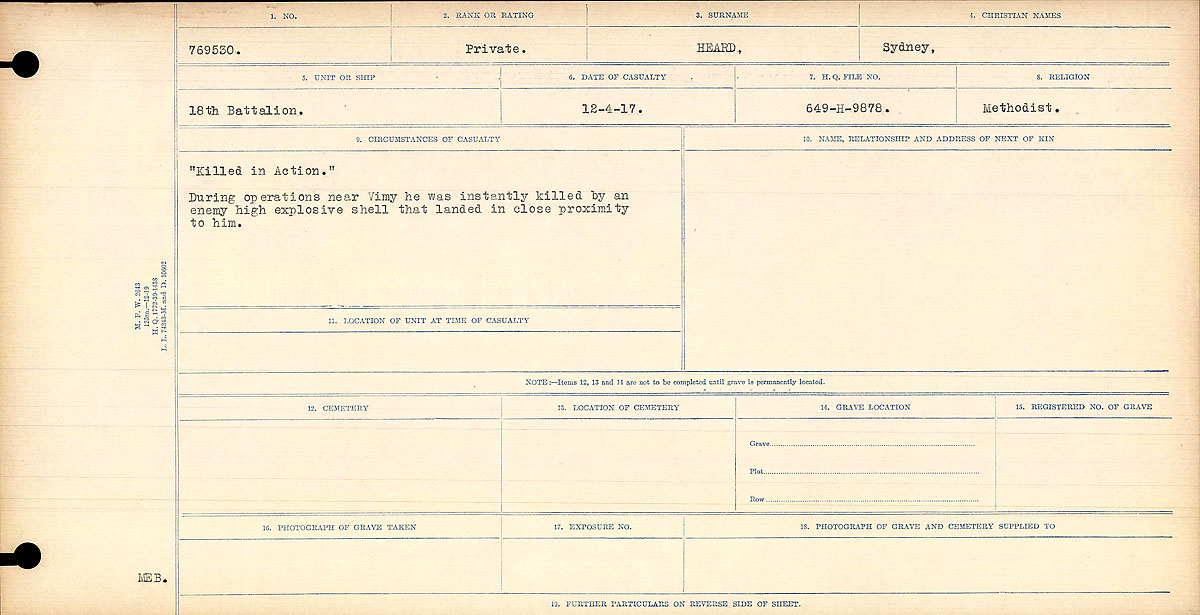 """Circumstances of Death Registers– """"Killed in Action."""" During operations near Vimy he was killed instantly by an enemy high explosive shell that fell in close proximity to him."""