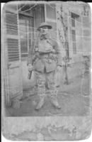 "Photo of Alfred Henderson– Picture of Alfred Henderson. The back seems to be a post card that was sent to his Mother, Mrs. A.W. Henderson. It is inscribed ""Somewhere in France. One day after we came out of the trenches. Good bye Alf""."
