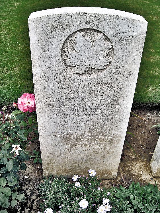 Grave Marker– – The grave marker at the Nine Elms Cemetery located outside Roclincourt, France. It is located about 5 kilometres from Canada's Vimy Memorial. May he rest in peace. (John & Anne Stephens 2013)