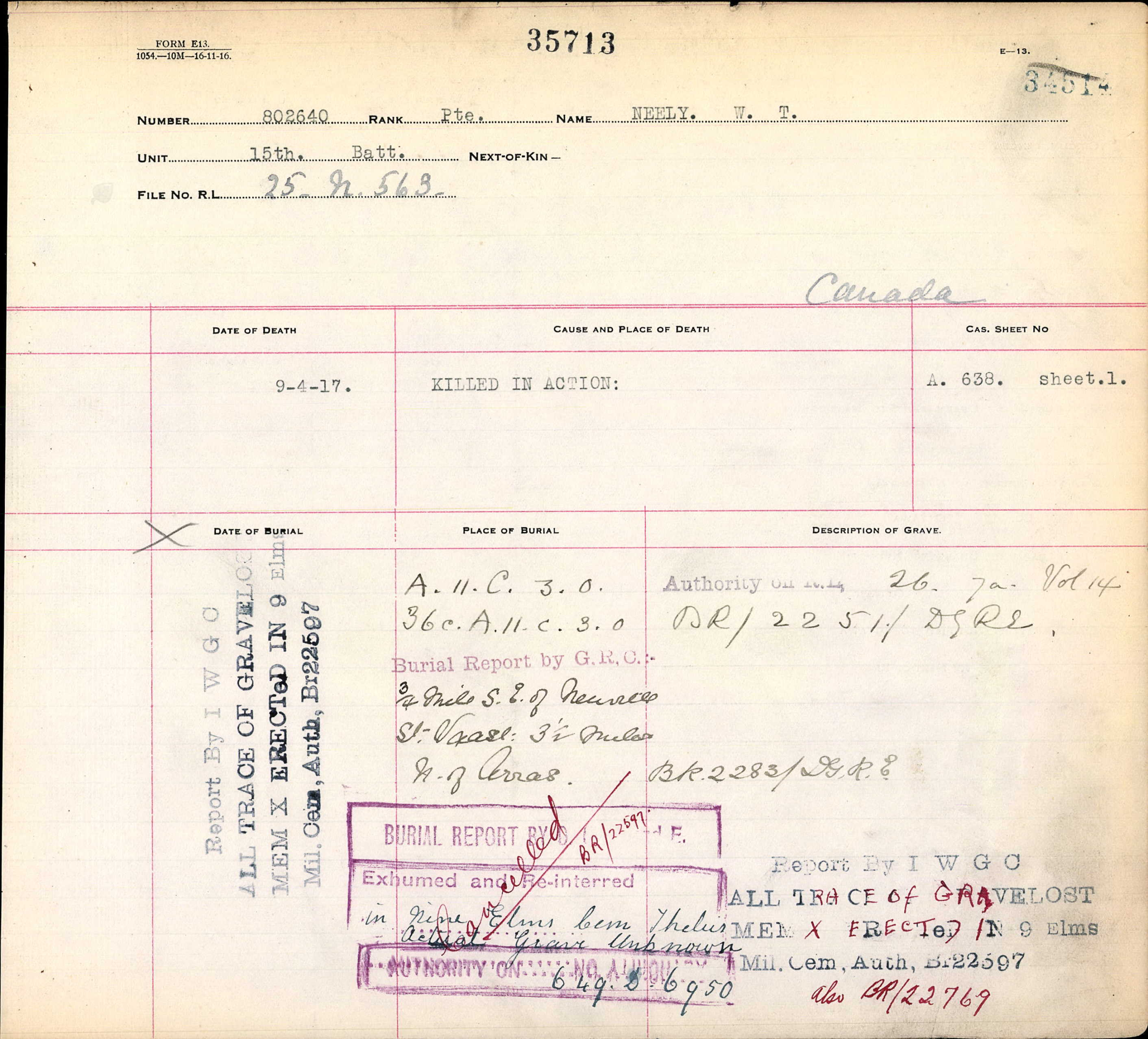 Burial Report– Burial report - Canada, CEF Commonwealth War Graves Registers, 1914-1919 for W T Neely