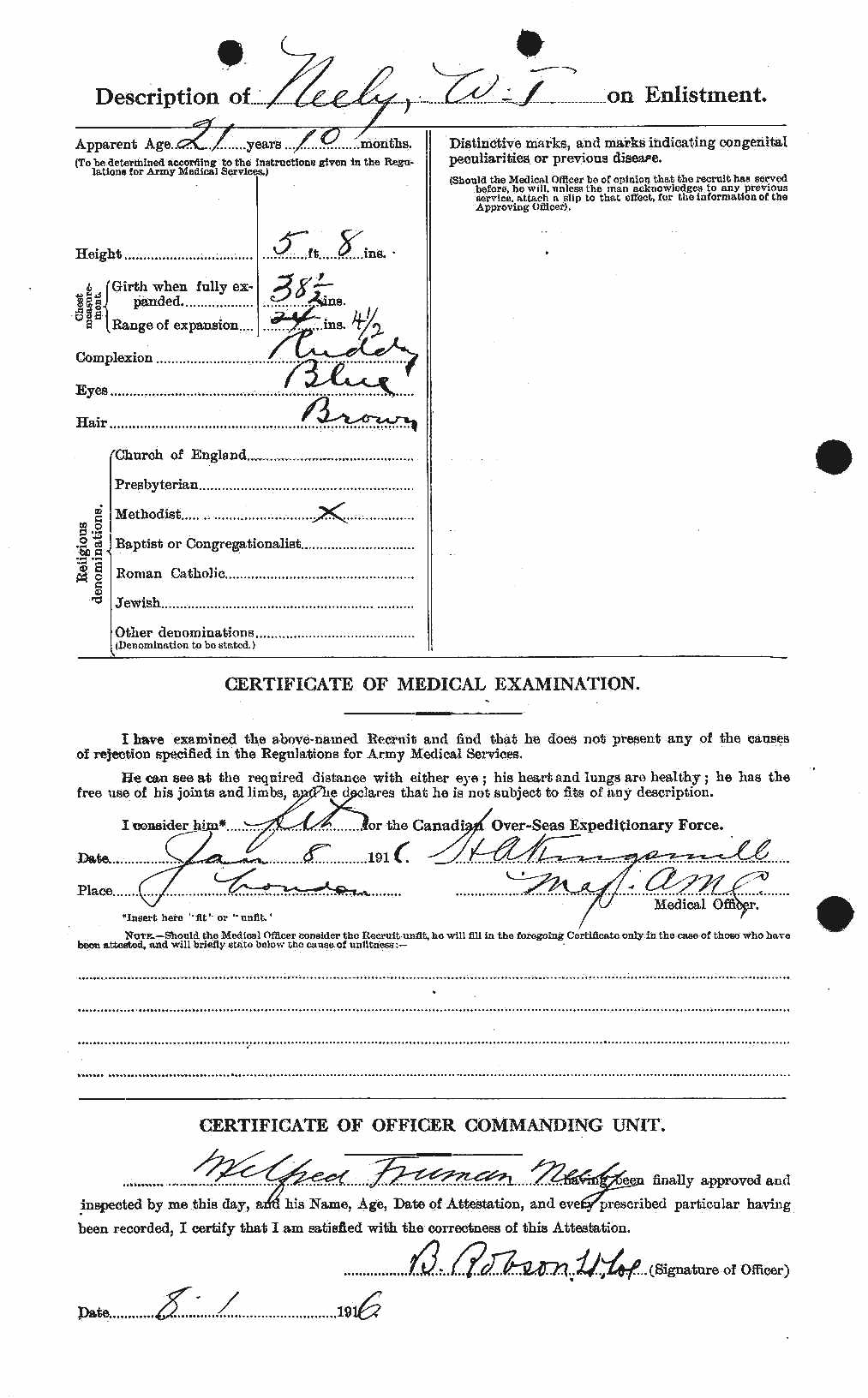 Attestation papers– Certificate of Medication examination for Wilfred Neely's enlistment