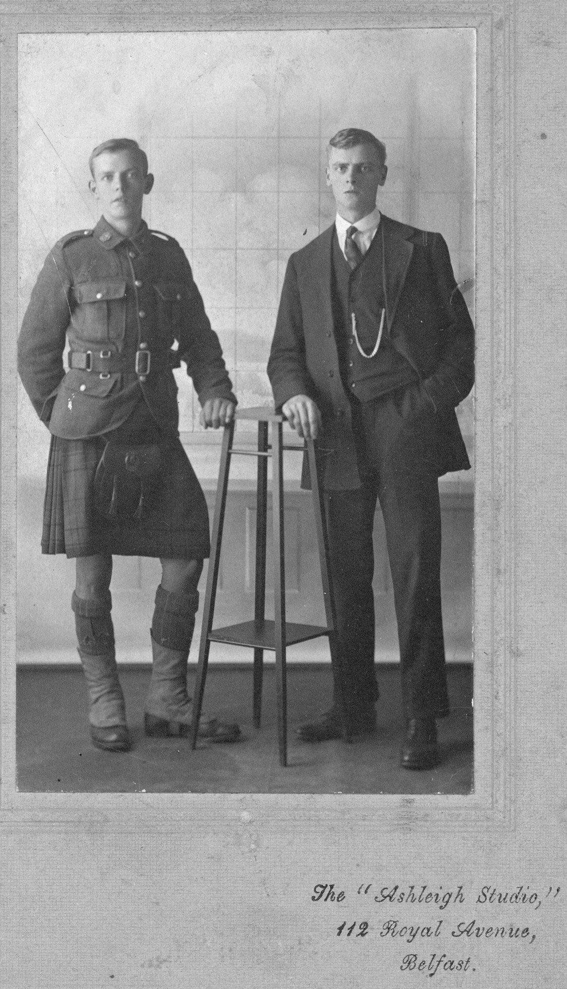 Group Photo– 799098 Pte John Owens ( with brother Bill) originally 134th Battalion (48th Highlanders); transferred to the 15th Battalion (48th Highlanders) No. 1 Company and KIA at Vimy on 9 April 1917.  (right) 