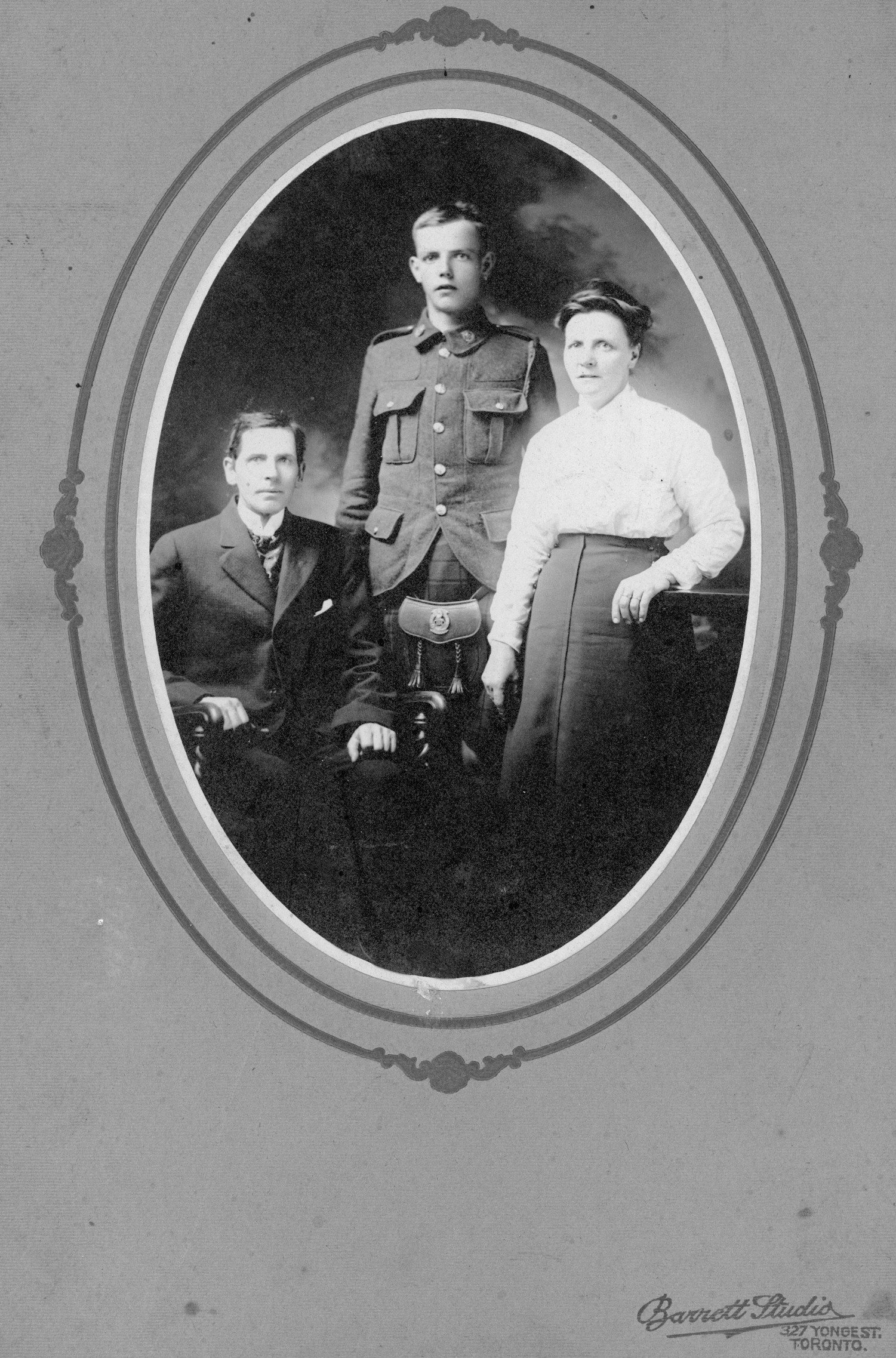 Family Photo– 799098 Pte John Owens ( with parents) originally 134th Battalion (48th Highlanders); transferred to the 15th Battalion (48th Highlanders) No. 1 Company and KIA at Vimy on 9 April 1917.  (right) 