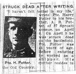 """Photo de William Henry Potter – Cette photo de William Henry Potter a été publiée dans le Toronto Star du 17 mai 1917.  On peut y lire:«""""Je ne me suis jamais senti bien de toute ma vie,"""" déclarait le soldat Harry Potter à son frère A. R. Potter (37,  Sproat avenue) dans une lettre du  6 avril. Le 9 avril, il a été atteint mortellement sur le champ de bataille. Potter avait 23 ans. Avant de s'enrôler, il était expéditeur. Sa mère habite l'Old Country.»"""