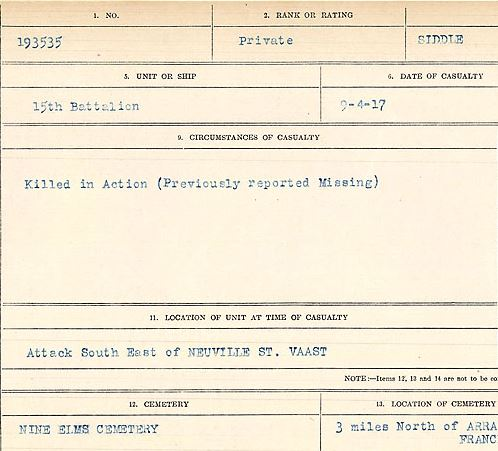 Circumstances of death registers– Private Thomas Edward Siddle