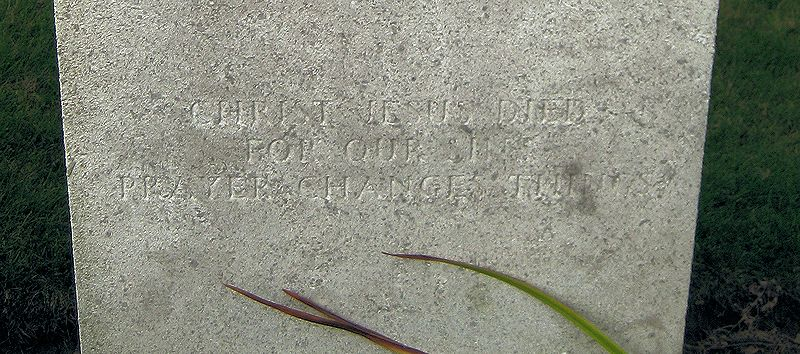 "Inscription– Inscription: ""Christ Jesus Died For Our Sins-Prayer Changes Things""    (John & Anne Stephens 2013)"