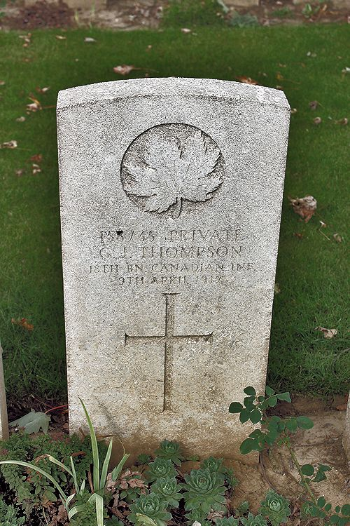 Photo of GEORGE JOHN THOMPSON– Grave Marker – The grave marker at the Nine Elms Cemetery located outside Roclincourt, France. It is located about 5 kilometres from Canada's Vimy Memorial. May he rest in peace. (John & Anne Stephens 2013)