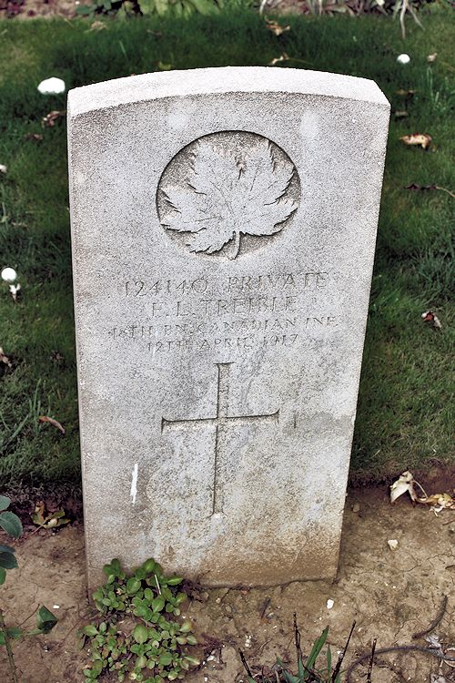 Grave marker– Grave Marker – The grave marker at the Nine Elms Cemetery located outside Roclincourt, France. It is located about 5 kilometres from Canada's Vimy Memorial. May he rest in peace. (John & Anne Stephens 2013)