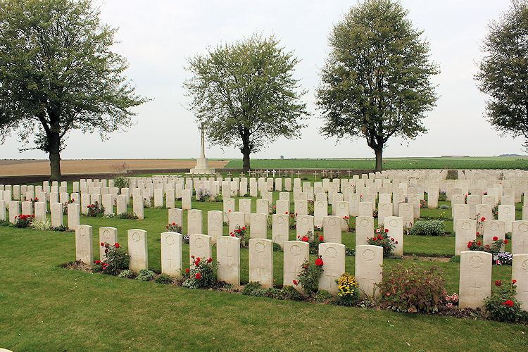 Nine Elms Military Cemtery– Nine Elms Cemetery – The Nine Elms Cemetery, located at Roclincourt, France. It is about 5 kilometres from Canada's Vimy Memorial in France. (John & Anne Stephens 2013)