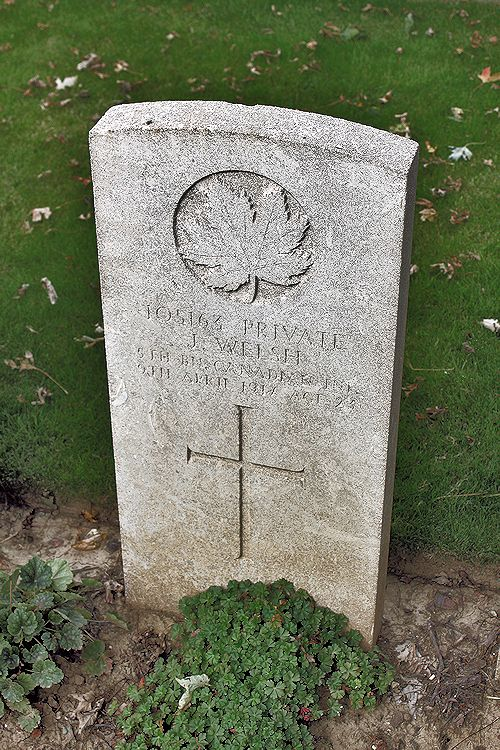 Photo of JAMES WALSH– Grave Marker – The grave marker at the Nine Elms Cemetery located outside Roclincourt, France. It is located about 5 kilometres from Canada's Vimy Memorial. May he rest in peace. (John & Anne Stephens 2013)