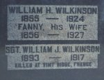 "Inscription– Detail of the memorial showing: ""Sgt. William J. Wilkinson 1893-1917 Killed at Vimy Ridge France"""