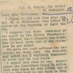 "Newspaper clipping– Original newspaper clipping from: ""The Tweed News"" showing two very sad letters written by two men who were with Sgt. Wilkinson when he was killed at Vimy on April 9, 1917."