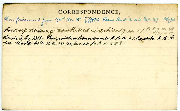 Service Record– Record of Service Card (reverse side).  Courtesy 48th Highlanders of Canada Regimental Museum.  Submitted by 15th Bn Memorial Project Team.  DILEAS GU BRATH