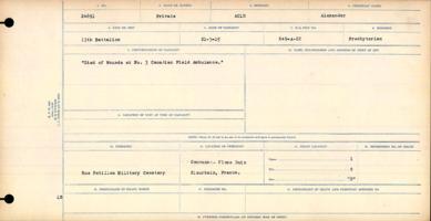 Circumstances of death registers– Private Alexander Auld