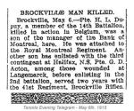 Newspaper Clipping– Corporal George Dunbar Acton is mentioned in this article regarding Brockville Ontario casualties at the 2nd Battle of Ypres.